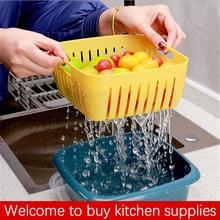 Трехкомпонентная двойная сливная корзина Кухонное сито для мытья
