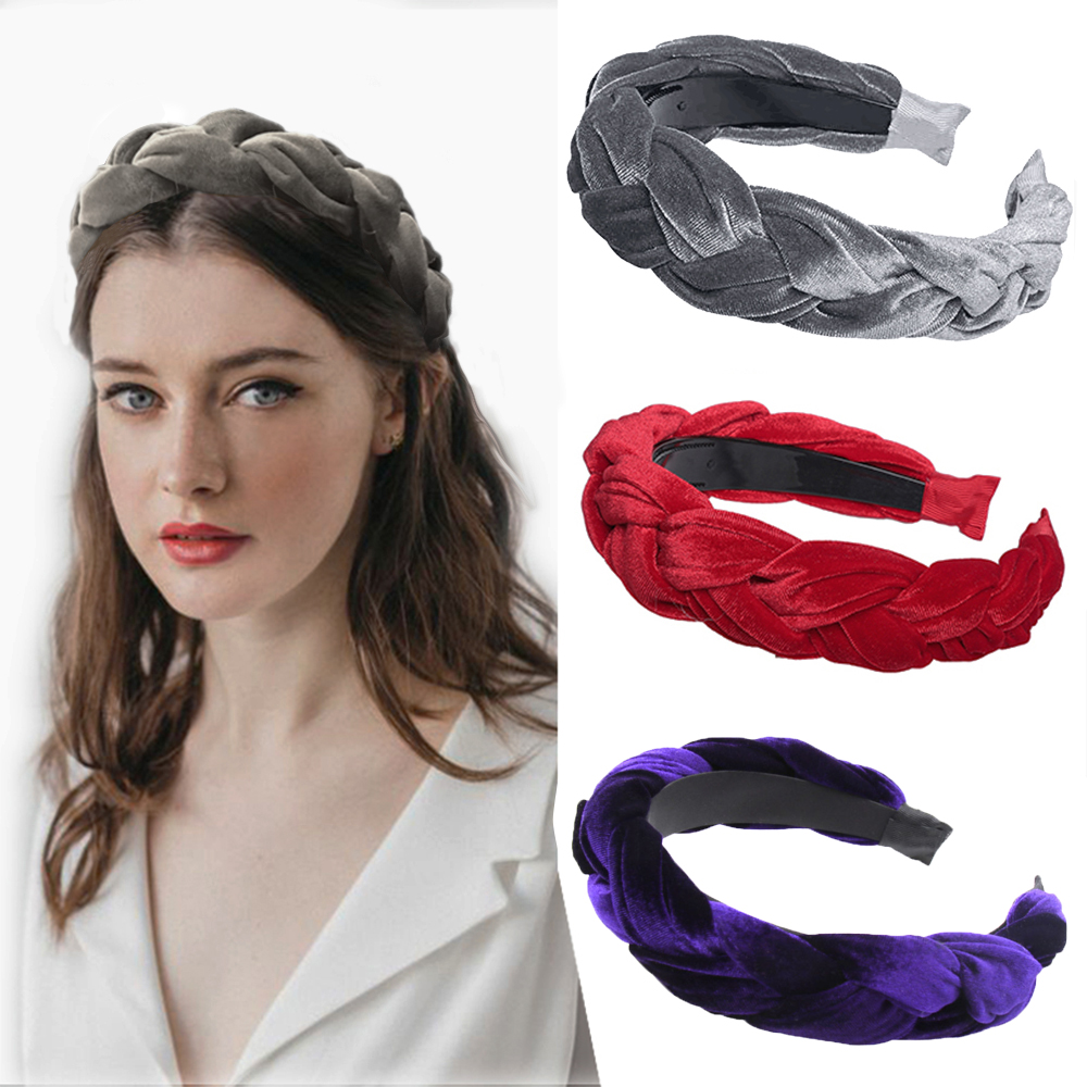 Girls Solid Knot Braid Velvet Headbands For Women Girls Handmade Wide Twist Hairbands Hair Hoop Makeup Bezel Hair Accessories