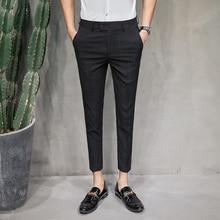 Suit Pants Plaid Formal Business Summer Fashion Korean Slim-Fit 36-28 Ankle-Length Men