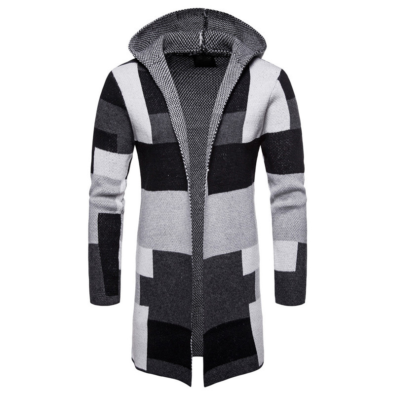 Vintage Style Mens Knitted Cloak Sweater Coat Hooded Patchwork Cardigan Grid Pattern Designer Loose Winter Sweater For Men A396