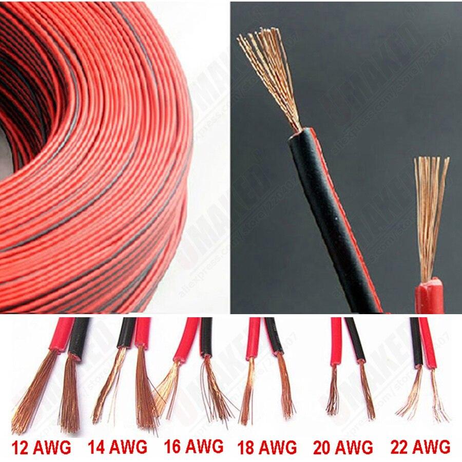 16 18 20 22AWG 2pin Cable de alambre de goma de cobre eléctrico LED rojo negro 2pin Cable de extensión aislado Cable de Audio de coche Cable de altavoz