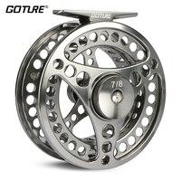 Goture 3/4 5/6 7/8 9/10 WT 플라이 피싱 릴 CNC 기계 커팅 대형 아버 다이 캐스팅 알루미늄 플라이 릴 (가방 포함)