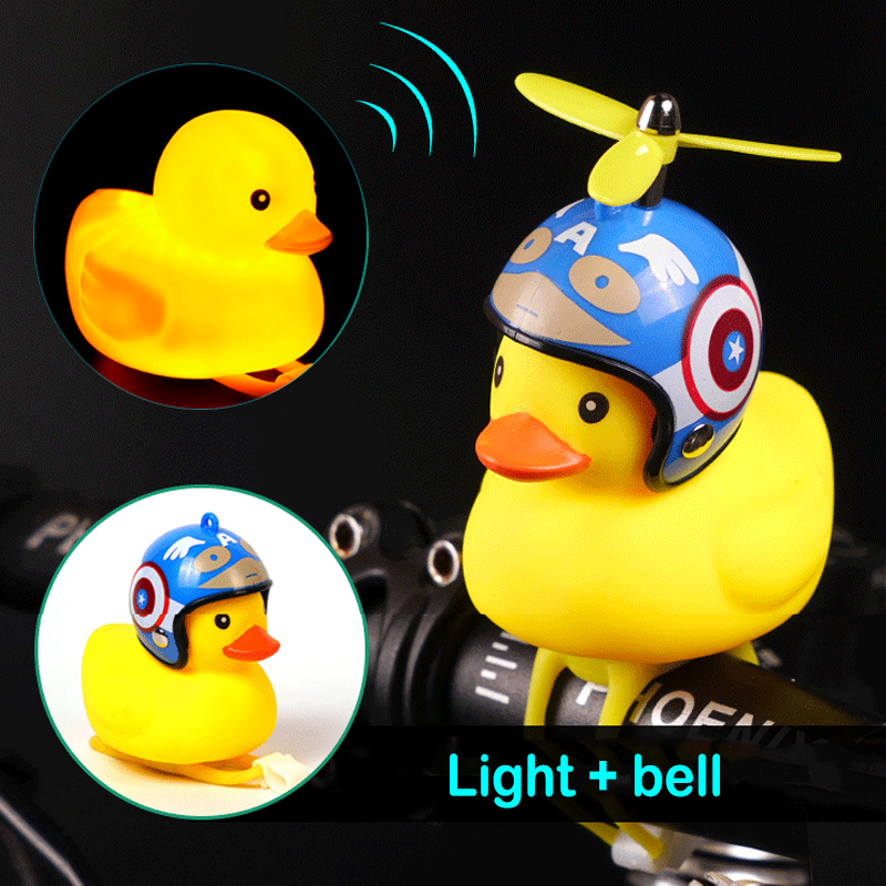 Bike Light Front Tail Bicycle Bell Horn Flash Bike Handlebar Duck Head Alarm Lamp Cycling Rubber Warning Light Horn Sound Safety