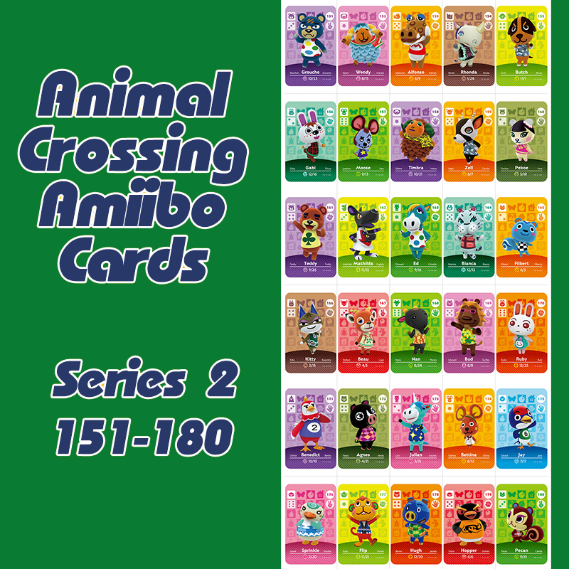 New Horizons Animal Crossing  Amiibo Card For NS Switch 3DS Game Lobo Cards Set Series 2 (151-180)