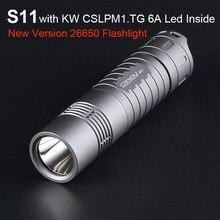 Poderosa lanterna comboio s11 com kw cslpm1.tg 6a linterna led tocha 26650 luz do flash acampamento pesca latarka luz de trabalho
