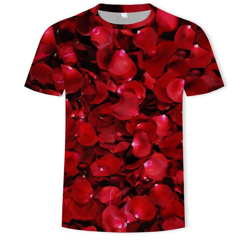 2019 Zomer Nieuwe Mannen Vrouwen Sweatshirt 3D Print Liefde Mooie Rose Bloem T Shirt Casual Korte Mouw Harajuku Trui