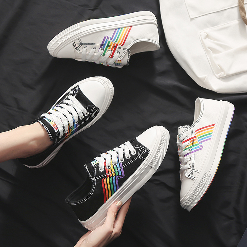 Colorized leisure Canvas Shoes Women Summer Fresh Fashion Joker Low Help Students Trend Comfortable Non-slip White Sneakers