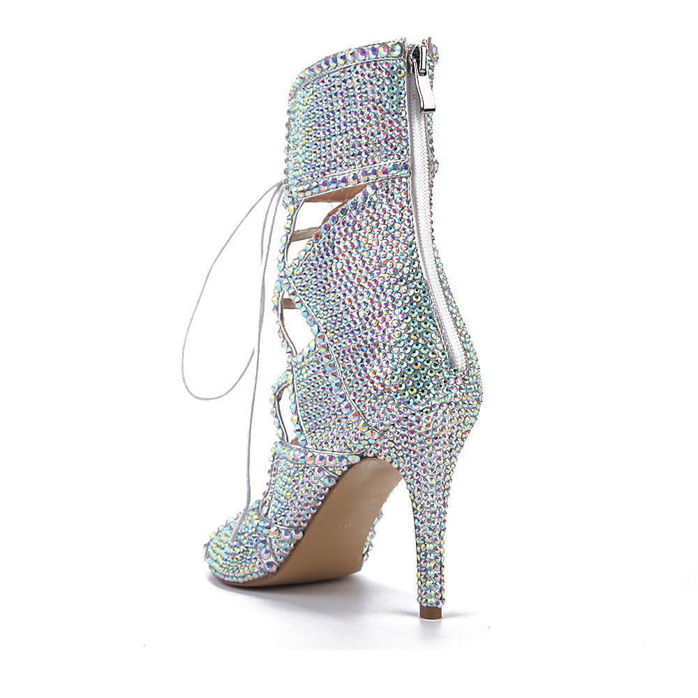 LMCAVASUN/женские ботильоны с кристаллами; Изысканные ботильоны со стразами на очень высоких каблуках со шнуровкой и открытым носком; Свадебная...