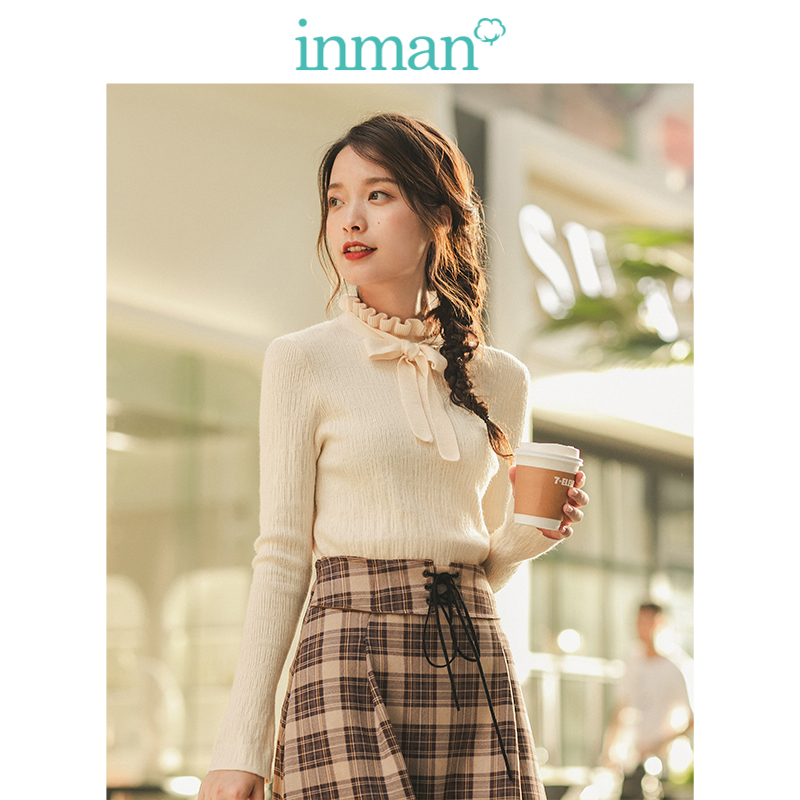 INMAN Winter Literary Solid Lace Bow Thin Women Pullover