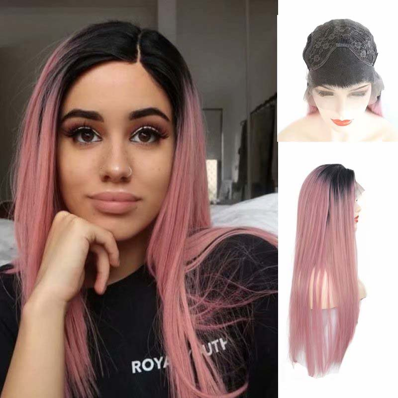 AIMEYA Free Part Synthetic Wigs Black Roots Ombre Pink Long Straight Frontal Lace Wig For Women Heat Resistant Fiber Hair Wigs