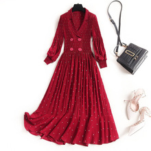 Women sexy chiffon dress long sleeve noched collar polka dot double breasted ple