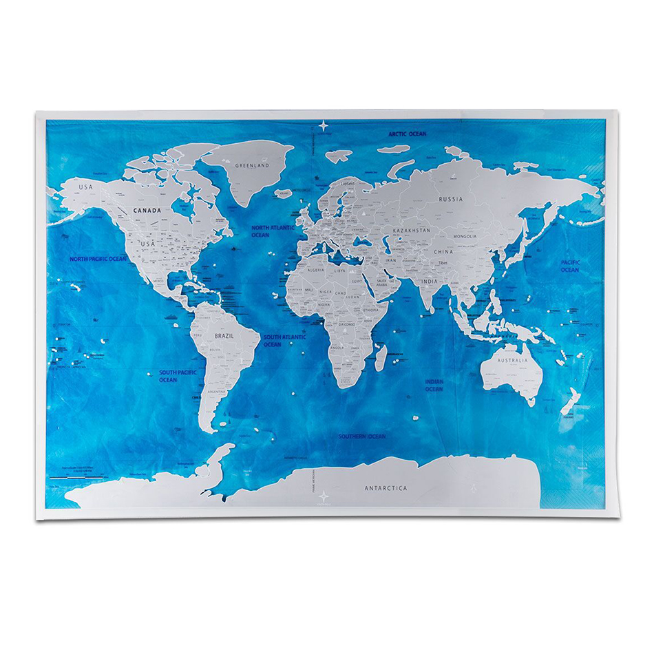 59.5*82.5CM Black World Travel Map Scratch Off Map Personalized Erase World Map Without Tube Creative Wall Stickers
