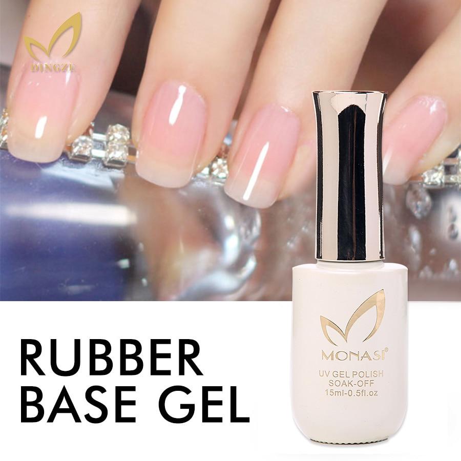 MONASI Long Lasting Base Coat Professional Nail Art Color Soak Off LED UV Gel Varnish Thick Rubber Base Gel No Wipe Top Coat
