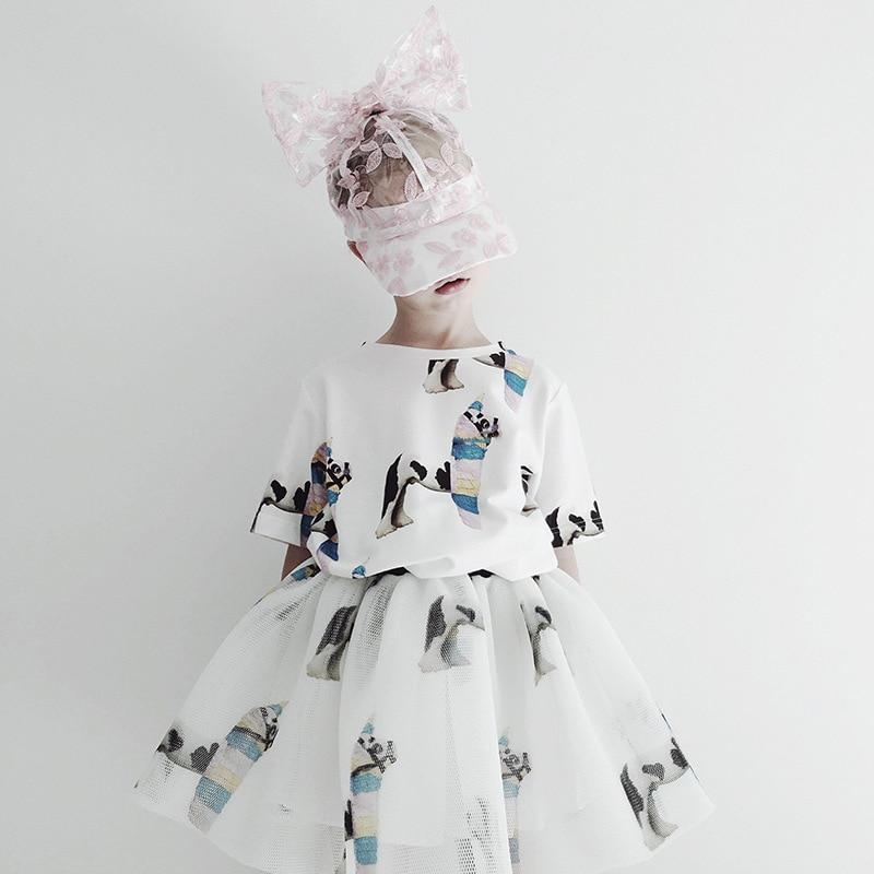 Girls Clothing Sets 2021 Summer Caroline Baby Flower T-shirt Cartoon Tutu Skirts Caps Girl Dress Party Suits Children Clothes 4