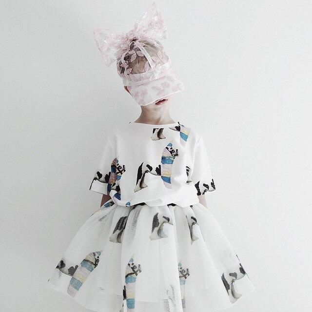 Girls Clothing Sets 2020 Summer Caroline Baby Flower T-shirt Cartoon Tutu Skirts Caps Girl Dress Party Suits Children Clothes 4