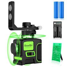 12 Lines 3D Green Laser Level Self-Leveling 360 Degre Horizontal And Vertical Cross Lines Green Laser Line With Tripod Battery zokoun 3 x 360 3d green beam lines laser level with 5200mah lithium battery and horizontal and vertical lines working separately