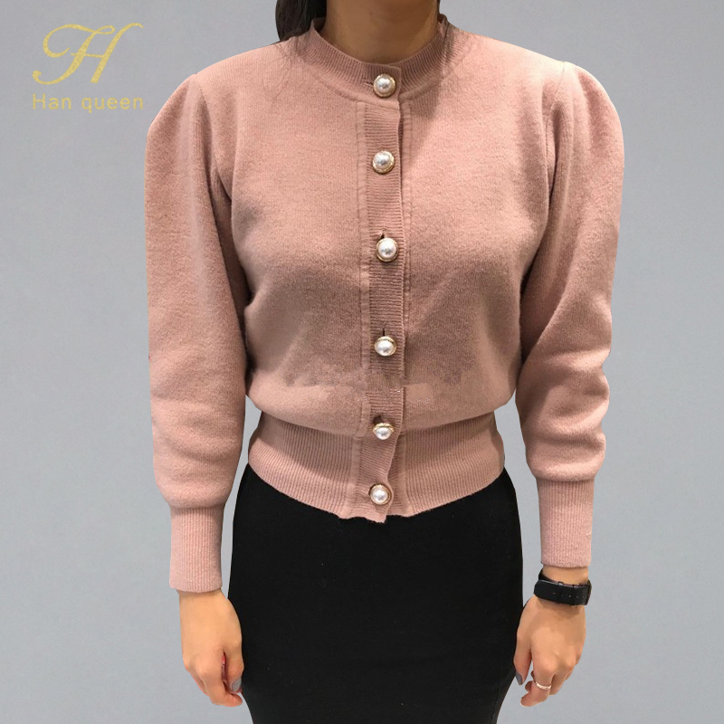 H Han Queen Early Autumn Puff Sleeve Knitted Cardigan Sweaters Pearls Buttons Solid Cardigans Stretch Elastic O-neck Sweater OL