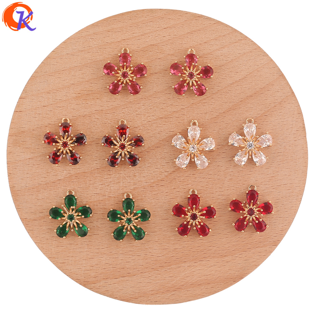 Cordial Design 30Pcs 14*16MM Jewelry Accessories/Crystal Charms/Flower Shape/Hand Made/Earring Findings/Pendant/DIY Making