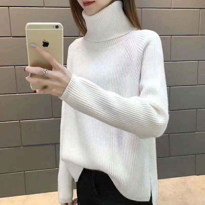 OLONY 2019 Winter New Fashion Thickened Warm Turtleneck Female Sweater  Long Sleeve Casual Solid Color Slim Simple Pullover