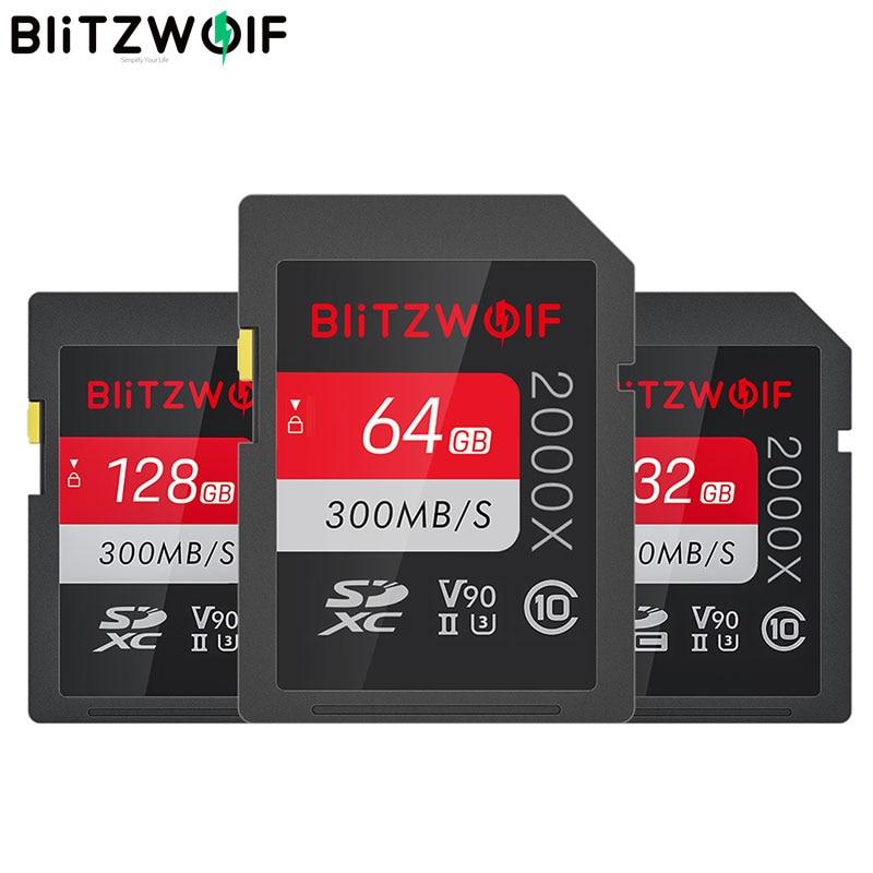 BlitzWolf BW-SDC1 UHS-II SD слот для карт памяти U3 C10 V90 32GB 64GB 128GB жесткий диск для хранения карт для спортивной экшен-камеры 4K 8K MILC SLR Камера вождения Регис...