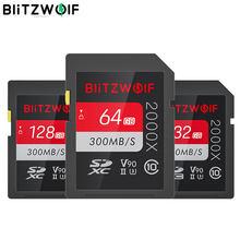 Blitzwolf BW-SDC1 UHS-II cartão de memória sd u3 c10 v90 32gb 64gb 128gb cartão de armazenamento de dados para 4k 8k milc slr câmera gravador de condução
