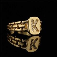 2021 nova moda hip hop ajustável cor do ouro cz A-Z carta anel de indicação quadrado ouro nome anéis para presente da menina