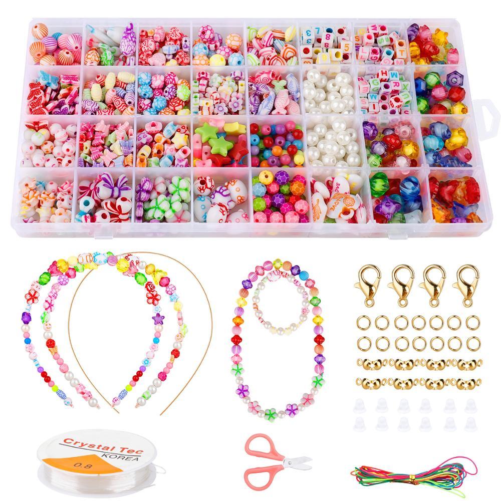 Bricolage à la main perles jouets et accessoires ensemble enfants filles créatives tissage bracelet fabrication de bijoux jouets éducation enfants gif