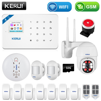 KERUI W18 WIFI GSM Smart Home Burglar Security Alarm System PIR Motion Detector SMS APP Control Fire Smoke Sensor With IP Camera 1