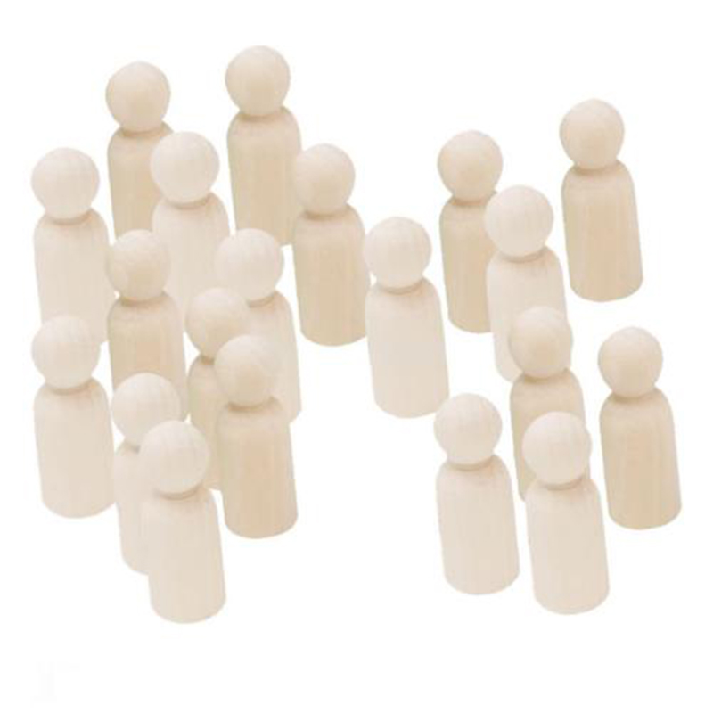 20Pcs Unfinished Wood Peg Doll Natural Wooden People DIY Craft Doll Decor Gift #