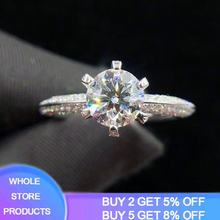 YANHUI With Certificate 100% Whole 925 Solid Silver Ring Luxury 2.0ct Lab Diamond Rings for Women Wedding Band Bride Jewelry yanhui silver 925 jewelry eternity 1 carat lab diamond wedding rings luxury original 925 silver rings gift for women jz068