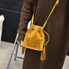 Winter Bags Woman 2019 Tassel Bucket Shoulder Small Crossbody Bag Leather Women Yellow Messenger Bag High Quality Cross Body Bag цена 2017