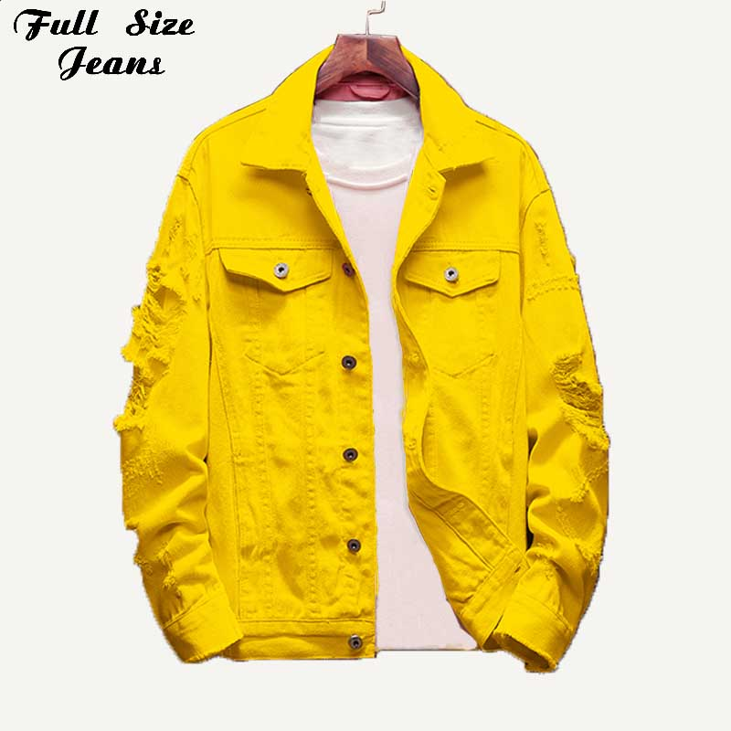 Plus Size Loose Ripped Yellow Denim   Jackets   3XL Autumn Women Jean Coat Boyfriend Baggy Outwear   Basic   Coat   Jackets   Mom Jeans