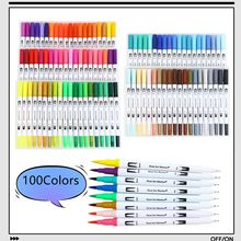 12/36/60/72/100/120 Colors Fine and Brush Dual Tips Colouring Pens Felt Tip Pens Art Markers for Calligraphy Drawing Coloring