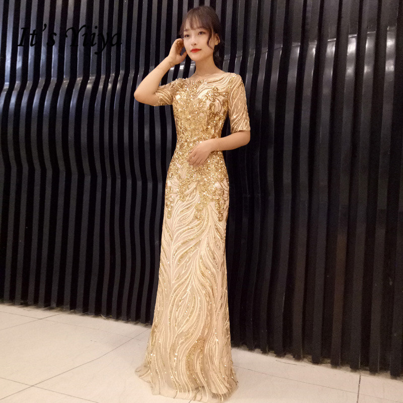 It'sYiiya Evening Dress O-neck Gold Shiny Sequins For Women Formal Gowns Short Sleeve Mermaid Dresses 2020 Robe De Soiree K163