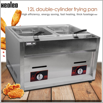 XEOLEO Commercial gas fryer LPG Stainless steel Deep fryer Double tank Double baskets Fryer Fried French/Chicken machine 6L*2