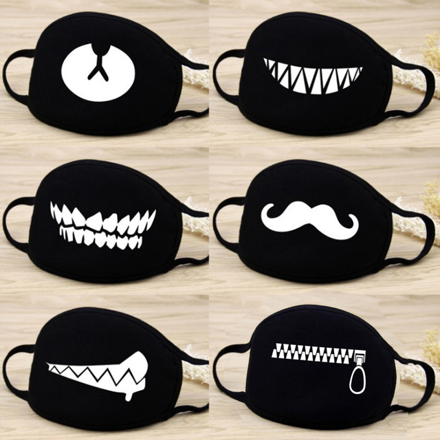 Hot Men Women Mouth Mask Fashion Cartoon Anime Face Mask Outdoor Face Warm Face Mask Unisex Cartoon Black Mask Kpop Black mask