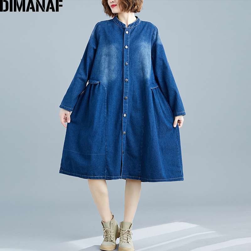 DIMANAF grande taille femmes robe hiver automne broderie plissée femme Vestido mode dame robe en vrac Denim bleu bouton vêtements