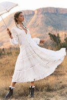 Canwedance Fairy Story Princess Dress New Hollow Out Lace Long Dress Viscose Boho Ethnic Vacation Dress Button Down White Dress