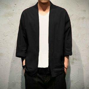 Męski kardigan kurtka Noragi Plus rozmiar luźny Kimono japoński płaszcz Yukata Haori