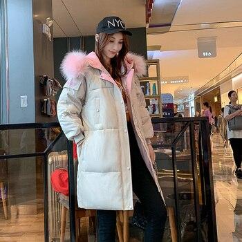 2020 New Medium Long Winter Jacket Women Fashion Letter Warm Fur Collar Jacket Hooded Parka Coat 2018 new winter children jackets teenage girls winter jacket fur hooded collar medium long warm kids parkas warm outerwear