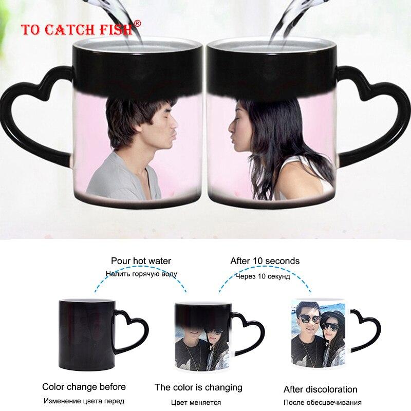 זרוק חינם DIY תמונה קסם צבע שינוי ספל, מותאם אישית שלך תמונה על תה כוס, ייחודי קרמיקה קפה כוס מתנה הטובה ביותר עבור חברים