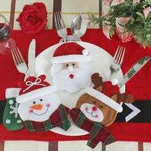 3 pz/set Decorazioni Di Natale Per La Casa Pupazzo di Neve Posate Borse Di Natale Babbo natale Da Cucina Tavolo Da Pranzo Posate Insieme Del Vestito Decorazione