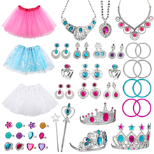 51Pcs Princess Pretend Dress Up Play Accessories for Girls Skirts Crowns Necklaces Adjustable Rings Earrings Bracelets for Kids