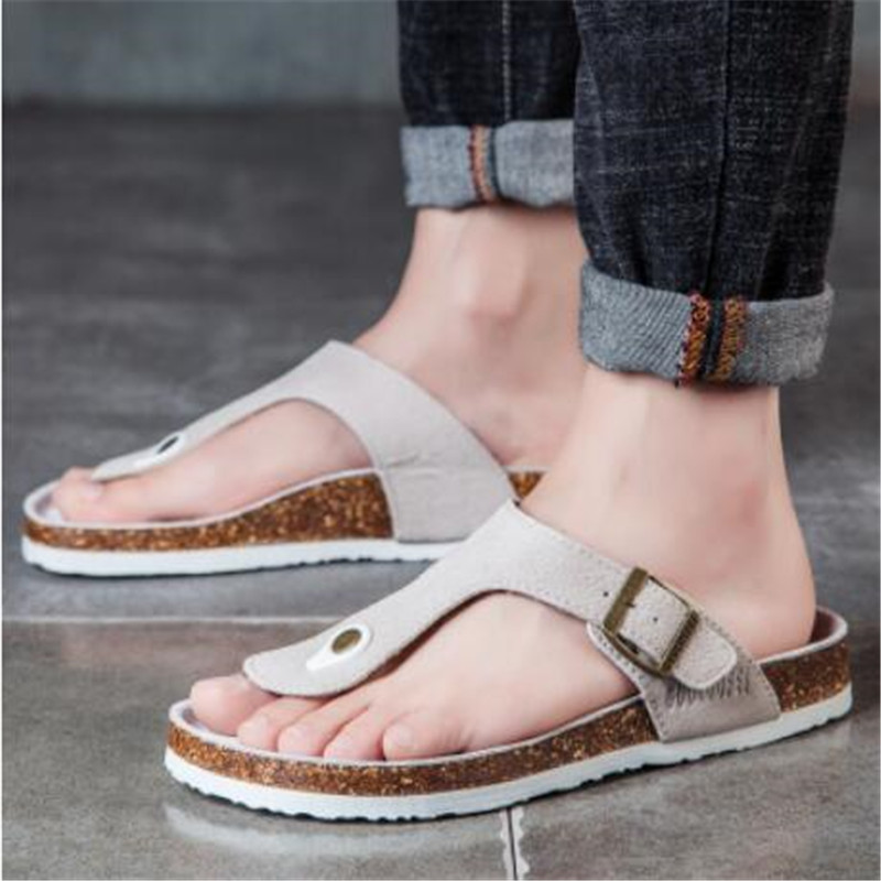 Men/'s Summer Leather Flip Flops Beach Slippers Home Casual Sandals Flat Shoes