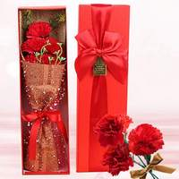 1 Carnation Mother's Day Bouquet Carnation Birthday Gift Flower Gift Box Flower Decoration Festive Party Supplies