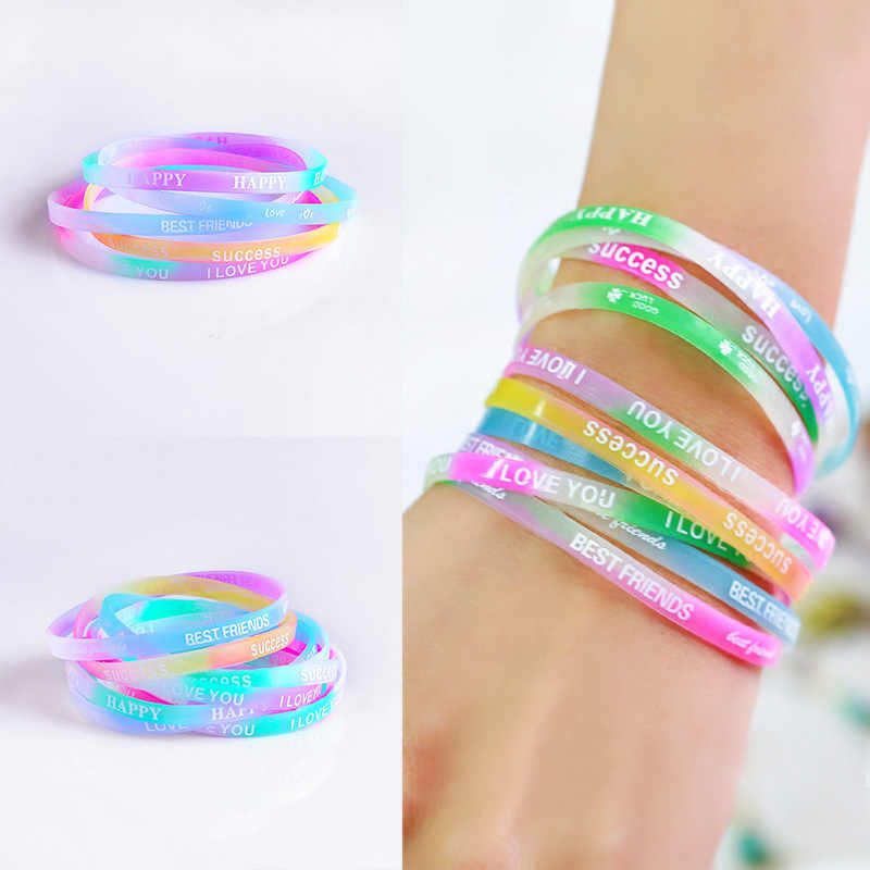 10PCS Child Luminous Silicone Bracelet Candy-Colored Letters Movement Bracelet Fashion Printing Rubber Wrist Strap Baby Jewelry