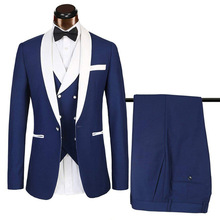 2020 New Arrival Slim Mens Suits Sets Royal Blue Business Tuxedos 3 Pieces Blazer Set For Wedding Groomman (Jacket+Vest+Pants)