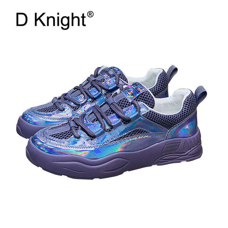European 2020 Women Sneakers 0ld Harajuku Shoes Lace Up Thick Bottom Flat Heel Laser Purple Platform Sports Women's Casual Shoes