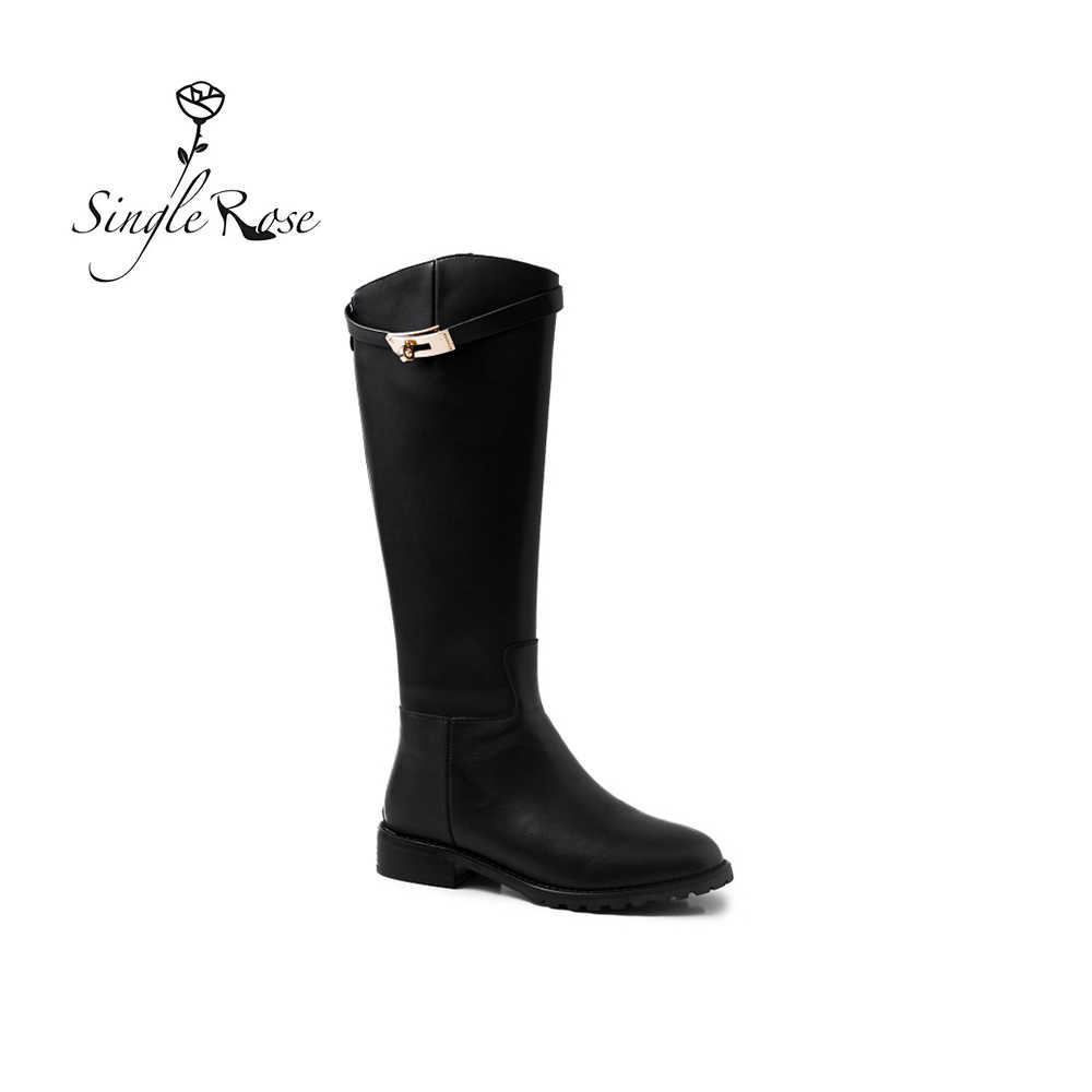 Single Rose Genuine Leather Black Women Mid Calf Boots Winter Wool High Heel  Boots  Warm Snow Boot Women Shoes Footwear XZ34