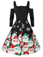 ROSEGAL Christmas Dress Women Cold Shoulder Santa Claus Print Vintage Dress Femme Ladies Long Sleeves A Line Elegant Dress 2019